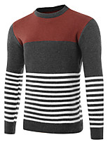 Men's Casual/Daily Work Simple Active Chinoiserie Regular Pullover,Striped Color Block Round Neck Long Sleeves Cotton Fall Winter Medium