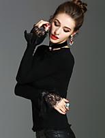T-shirt Da donna Per eventi Per uscire Vintage Moda città Sofisticato Primavera Autunno,Tinta unita Rotonda Cotone Manica lunga Medio