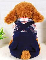Cane Tuta Abbigliamento per cani Casual A quadri Arancione Rosso Blu