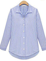 Women's Holiday Casual/Daily Sexy Simple Street chic Shirt,Striped Shirt Collar Long Sleeves Cotton