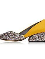 Femme Chaussures Crin de Cheval Printemps Automne Confort Chaussures à Talons Semelle Souple Bout pointu Pour Décontracté Violet Jaune
