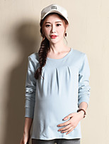 Women's Work Simple Fall Winter ShirtSolid Round Neck Long Sleeves Cotton Medium