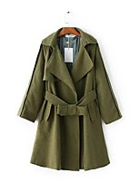 Women's Going out Casual/Daily Simple Active Street chic Spring Fall Trench Coat,Solid Notch Lapel Long Sleeve Long Cotton Others