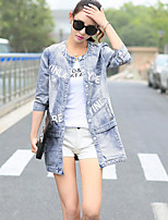 Women's Going out Street chic Spring Fall Denim Jacket,Solid Round Neck Long Sleeve Long Others
