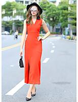 Fodero Vestito Da donna-Per uscire Monocolore A V Maxi Senza maniche Poliestere Autunno A vita medio-alta Media elasticità Medio spessore
