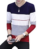 Men's Plus Size Casual/Daily Simple Regular Pullover,Color Block V Neck Long Sleeves Polyester Others Fall Winter Medium Micro-elastic