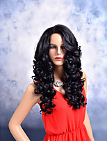 Women Synthetic Wig Capless Long Body Wave Deep Wave Black Side Part African American Wig Middle Part Party Wig Celebrity Wig Halloween