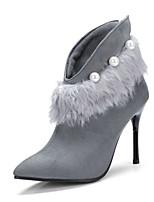 Femme Chaussures Laine synthétique Automne Hiver Nouveauté Bottes à la Mode Bottes Talon Aiguille Bout pointu Bottine/Demi Botte Plume