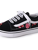 Women's Shoes Fabric Fall Comfort Sneakers Flat Heel Round Toe Lace-up For Casual Black White