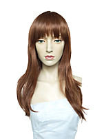 Women Synthetic Wig Capless Long Straight Medium Auburn Side Part With Bangs Party Wig Celebrity Wig Halloween Wig Cosplay Wig Natural
