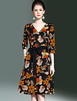 YHSP Women's Plus Size Going out Casual/Daily Simple Street chic Sophisticated A Line Sheath Swing DressFloral V Neck Knee-length Half Sleeves