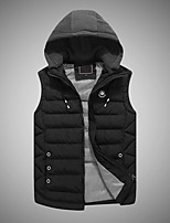 Men's Short Padded Coat,Simple Active Casual/Daily Striped-Polyester Polyester Sleeveless