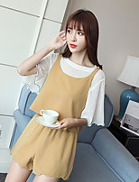 Women's Casual/Daily Cute Summer Blouse Pant Suits,Solid Round Neck Short Sleeve