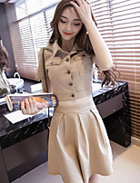 Women's Going out Sexy Summer T-shirt Skirt Suits,Solid Shirt Collar Short Sleeve