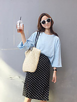 Women's Casual/Daily Simple Summer T-shirt Skirt Suits,Solid Polka Dot Round Neck Long Sleeve Micro-elastic