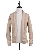 Men's Casual/Daily Street chic Regular Cardigan,Solid Halter Long Sleeves Polyester Fall Winter Medium Micro-elastic