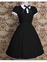 One-Piece/Dress Sweet Lolita Sailor Lolita Vintage Inspired Cosplay Lolita Dress Blue Black Pink Solid Bowknot Vintage Short Sleeves
