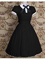 Einteilig/Kleid Niedlich Matrose Vintage Inspirationen Cosplay Lolita Kleider Rosa Schwarz Blau Schleife einfarbig Vintage Kurzarm