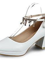 Femme Chaussures Polyuréthane Automne Escarpin Basique Chaussures à Talons Block Heel Bout rond Strass Pour Habillé Blanc Noir