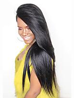 Donna Parrucche di capelli umani con retina Malese Remy Senza colla e con tulle frontale 130% Densità Con ciuffetti Lisci Parrucca Nero