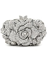 Women Bags All Seasons Metal Evening Bag Crystal Detailing for Wedding Event/Party Silver