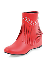 Feminino Sapatos Courino Outono Inverno Curta/Ankle Botas da Moda Botas Rasteiro Ponta Redonda Botas Curtas / Ankle Pedrarias Franja(s)