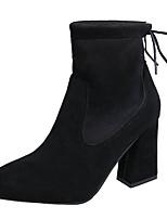 Feminino Sapatos Camurça Outono Coturnos Botas Salto Grosso Ponta Redonda Laço Para Casual Preto Marron