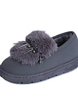 Для женщин Обувь Полиуретан Зима Зимние сапоги Ботинки На плоской подошве Круглый носок Назначение Повседневные Черный Серый Розовый