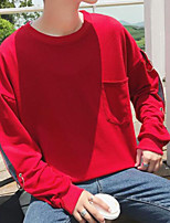 Men's Casual/Daily Sweatshirt Solid Round Neck Inelastic Others Long Sleeve Fall