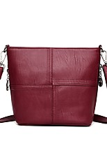 Women Bags All Seasons PU Shoulder Bag with Zipper for Outdoor Purple Gray Red Black