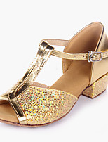 Kids' Kids' Dance Shoes Sparkling Glitter Paillette PVC Leather Heel Indoor Sparkling Glitter Paillette Low Heel Sliver Gold