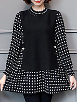 Women's Plus Size Casual/Daily Simple Fall T-shirt,Polka Dot Crew Neck Long Sleeves Polyester Medium