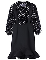 Women's Holiday Going out Simple Street chic Summer Blouse Skirt Suits,Polka Dot V Neck Long Sleeve