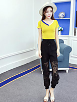 Women's Casual/Daily Simple Summer T-shirt Pant Suits,Solid V Neck Short Sleeve Micro-elastic