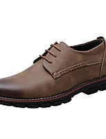 Men's Shoes Leather Spring Fall Comfort Oxfords Lace-up For Casual Khaki Black