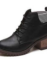 Women's Shoes PU Fall Combat Boots Boots Block Heel Round Toe Lace-up For Casual Khaki Black