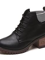 Feminino Sapatos Couro Ecológico Outono Coturnos Botas Salto de bloco Ponta Redonda Cadarço Para Casual Preto Khaki