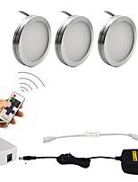 3pcs 2w dimmable led sous le bloc-pate lumières avec télécommande rf sans fil pour l'éclairage des meubles 85-265v