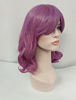Women Synthetic Wig Capless Medium Length Wavy Lavender With Bangs Cosplay Wig Costume Wig