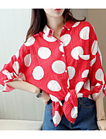 Women's Casual/Daily Simple Shirt,Print Shirt Collar Long Sleeves Others