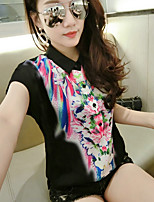 Women's Going out Simple Shirt,Floral Shirt Collar Short Sleeves Polyester