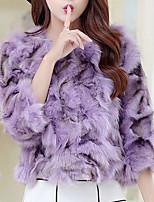 Cappotto di pelliccia Da donna Feste Per uscire Vintage Moda città Autunno Inverno,Monocolore A V Pelliccia sintetica Cotone Corto