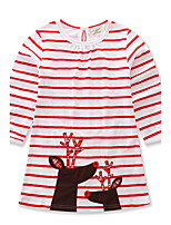 Girl's Casual/Daily Going out Striped Animal Print Dress,Cotton Spring Fall Long Sleeve