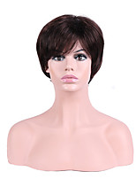 Women Synthetic Wig Capless Short Straight Brown Natural Hairline Layered Haircut Party Wig Halloween Wig Cosplay Wig Natural Wigs