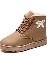 Feminino Sapatos Pele Nobuck Outono Inverno Botas de Neve Forro de fluff Botas Rasteiro Ponta Redonda Botas Curtas / Ankle Pedrarias
