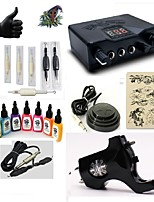 Starter Tattoo Kit 1 rotary machine liner & shader LED power supply 7 × 15ml Tattoo Ink 5 x disposable grip Complete Kit