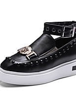 Women's Shoes PU Spring Fall Comfort Sneakers Flat Heel Square Toe Rivet Buckle For Outdoor Office & Career Blushing Pink Black