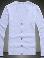 Men's Holiday Regular Cardigan,Solid V Neck Long Sleeves Others Spring Fall Medium Micro-elastic