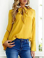 Women's Casual/Daily Work Simple Street chic Spring Fall Shirt,Solid V Neck Long Sleeves Polyester Medium