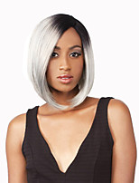 Women Synthetic Wig Lace Front Short Straight Medium Brown/Strawberry Blonde Black/Grey Ombre Hair Dark Roots Bob Haircut Natural Wigs